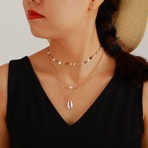 Sequins Shell Pearl Choker Pendant Boho Necklace